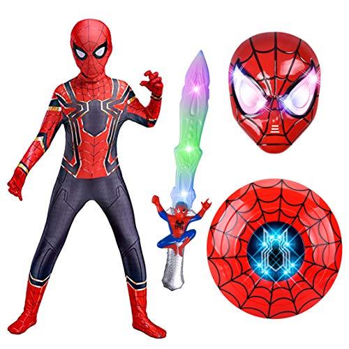 GUOHANG Costumes Spiderman Kids Lows Lower Shield Masque Jouets Cadeaux, Enfant Spiderman Costume 4 pièces Set Superhero Parti Halloween Cosplay,C,110CM~120CM