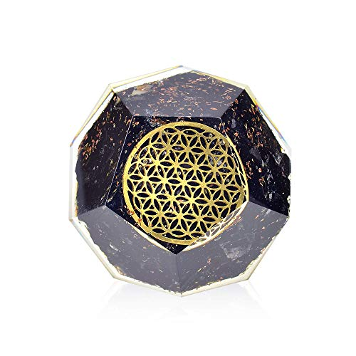 Orgonite Crystal – Black Tourmaline Emf Protection Orgone energy Generator- Flower of Life Orgonite Dodecahedron Healing Crystal for – Mood Swing Boost Immune System Chakra Balance