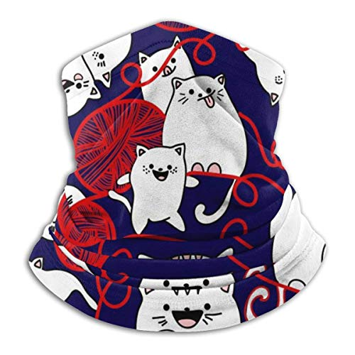 Strawberryran Patrón sin fisuras con gatos graciosos Ilustración vectorial Capucha Pasamontañas Calentador De Cuello Polar