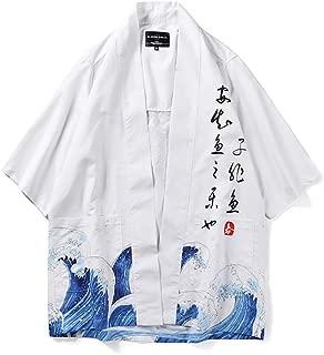 Men's Christmas Holiday Japanese Harajuku Fish Printed Kimono Cardigan Casual Jackets Streetwear