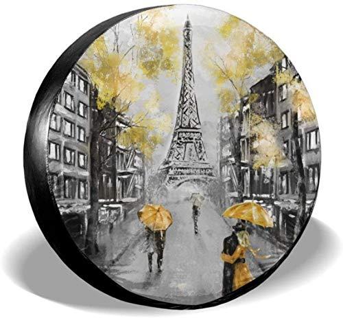 MODORSAN Pintura al óleo Paris, Cubierta de neumático de Rueda de Repuesto, poliéster, Cubiertas de Rueda universales para Jeep, Remolque, RV, SUV, camión, Accesorios, 16 Pulgadas