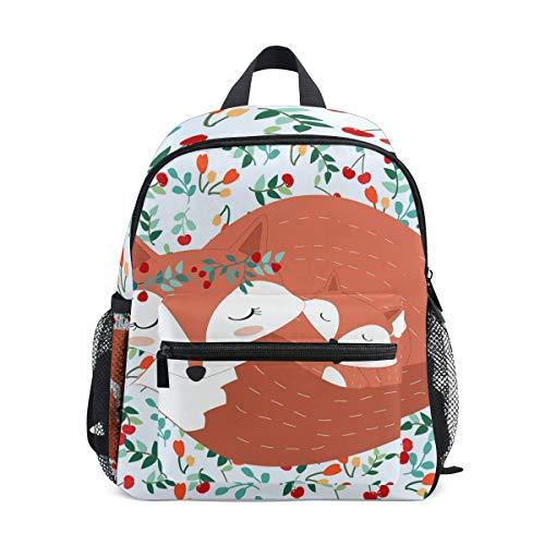 DOSHINE Mochila para niños, diseño de zorro de animales, floral, color cereza, preescolar, para niños y niñas