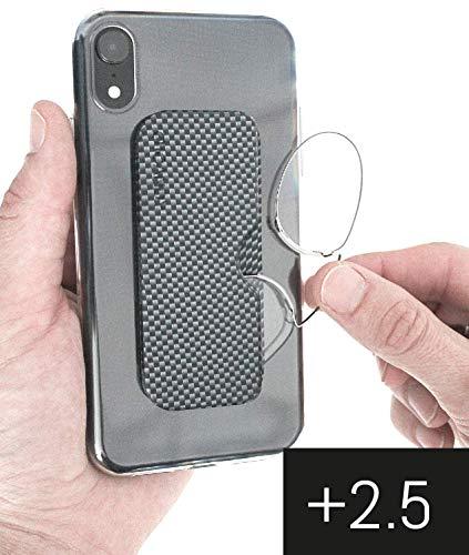 ICANDY Pocket reading Glasses - Praktische Lesebrille mit Halterung zum überall anbringen - 2,5 Dioptrien - Carbon-Look