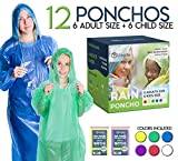 Lingito Rain Ponchos Family Pack   12-Piece Emergency Raincoat Drawstring Hood Poncho for Children and Adults   Lightweight Reusable or Disposable