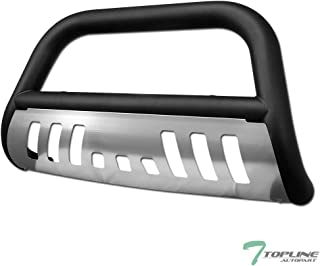 Topline Autopart Matte Black Bull Bar Brush Push Front Bumper Grill Grille Guard With Brush Aluminum Skid Plate For 10-17 Dodge Ram 2500/3500