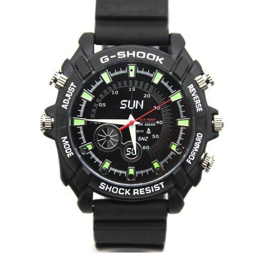 Flylink® 1080P 16GB Full HD, Wasserdicht, Infrarot Nachtsicht Armbanduhr mit Versteckter Kamera, Camcorder, DV DVR Mini Uhr Black Dial Black Strap Fashion Armbanduhr für Herren, Motiv Gifts