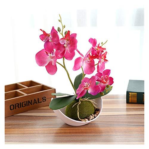 ZHENGLUSM Künstliche Blume 1Set Trigeminat Phalaenopsis Simulation Bonsai Künstliche Pflanze Blume + Topf Dekorative Blume Set Home Table Schlafzimmer Zubehör (Color : Rose Red, Size : 1Set)