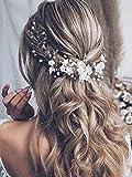 Vakkery - Diadema para novia con diseño de flores, color plateado y perla