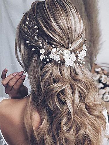 Vakkery - Accessori per capelli da sposa, con fiore e perle argentate, cerchietti per capelli sposa, per donne e ragazze