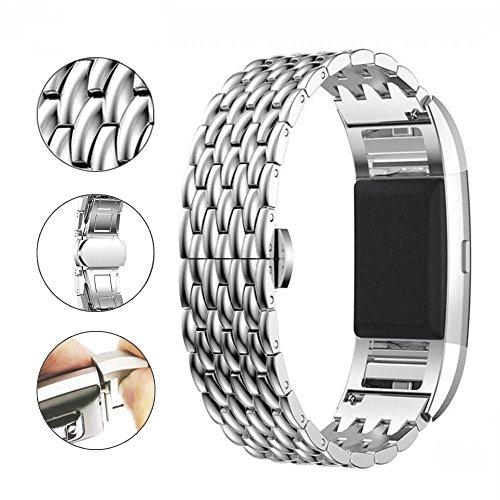 Fitbit Charge 2 Armband voor dames, zilverkleurig, metaal, oerenarmband, roestvrij staal, smartwatch band, fitness sport reserveband strap activiteitstracker accessoire voor Fitbit Charge 2