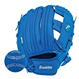 Franklin Sports Teeball Glove - Left and Right Handed Youth Fielding Glove - Synthetic Leather Baseball Glove - Ready to Play Glove (RTP) - 9.5 Inch Right Hand Throw - Royal/Royal with Ball