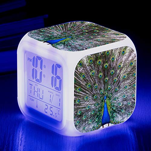 Totots Reloj de Alarma Cuadrado Pavo Real, Creativo LED LED Reloj de Alarma Aves, Anime Colorida Noche Luz Animal, Reloj Perezoso Snooze, Decoración de la Casa Creativa