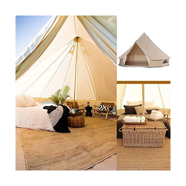 4 Season Bell Tent Outdoor Family Camping Waterproof Bell Tent with Zipped for Family Camping Outdoor Hunting 4