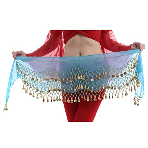 Hee Grand 3filas danza del vientre baile Hip bufanda falda cinturón con 128monedas, Todo el año, Mujer, color Lago Azul, tamaño Talla única