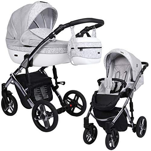 KUNERT Kinderwagen LAVADO PREMIUM CLASS Sportwagen Babywagen Autositz Babyschale Komplettset Kinder Wagen Set 2 in 1 (Grauer Zweig, Rahmenfarbe: Graphite, 2in1)