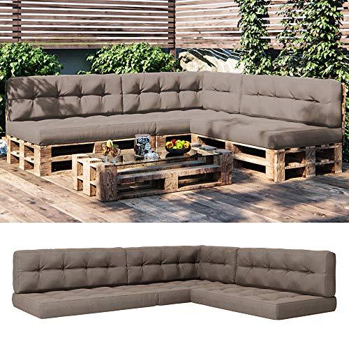 Vicco Palettenkissen Sitzkissen + Rückenkissen + Seitenkissen 15cm hoch Palettenmöbel (7er Set, Taupe)