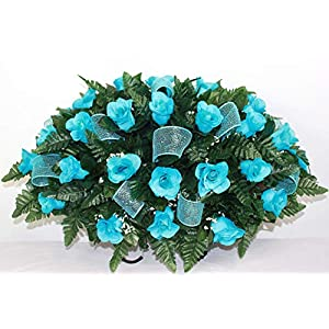 XL Turquoise Roses Artificial Silk Flower Cemetery Tombstone Grave Saddle