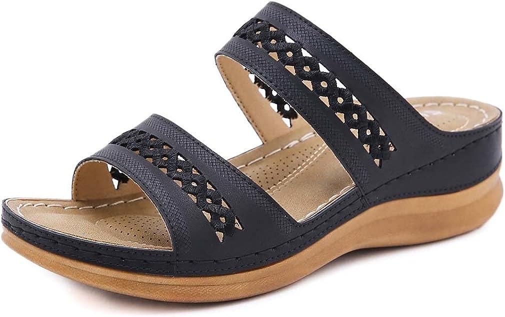 Furcross Women Hollow Out Slip On Slide Sandals Summer Beach Walking Wedge Sandals