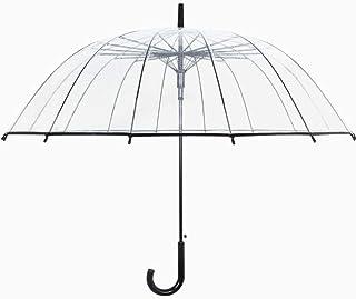 XUANLAN Large Long Handle Automatic Reinforcement Umbrella, Reinforced Windproof Frame, Transparent Umbrella (Color : Clear)