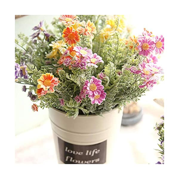 Blentude Jarrón de flores artificiales para decoración del hogar, pequeño florero fresco flocado de crisantemo silvestre