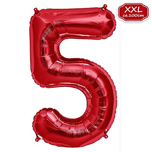 FUNXGO Folienballon Zahl in Rot- Riesenzahl ca.100cm Ballon - Folienballons für Luft oder Helium als Geburtstag, Hochzeit , Jubiläum oder Abschluss Geschenk, Party Dekoration (Rot [ 5 ])