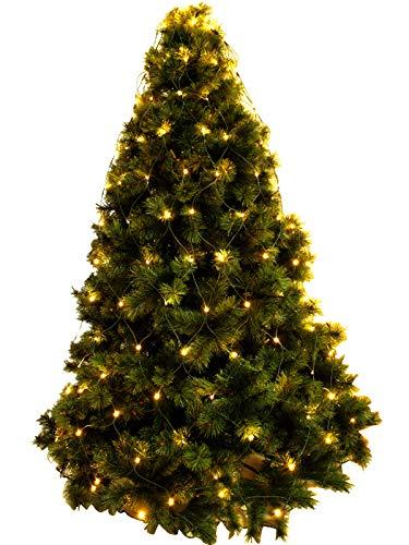 LUCCIKA Mantello a rete di Luci a led per Albero di Natale per interno ed esterno con controller con memoria e 8 giochi di luminosi (Bianco Caldo, 192 Led - Per Alberi da 150 a 180 cm di altezza)