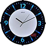 Oreva Back Light Round Plastic Analog Wall Clock (32 cm x 32 cm x 4 cm, Blue LED, AQ 1667)