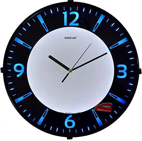 Oreva Back Light Round Plastic Analog Wall Clock (32 cm x 32 cm x 4 cm, Blue LED, AQ 1667)