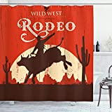 Ambesonne Vintage Shower Curtain, Rodeo Cowboy Riding Bull Wooden Old Sign Western Style Wilderness at Sunset Image, Cloth Fabric Bathroom Decor Set with Hooks, 84' Long Extra, Redwood Orange