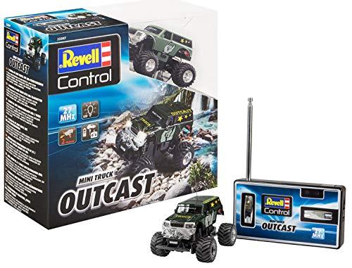 Revell Control 23507 Mini RC Monster Truck Outcast mit 27 MHz-Fernsteuerung inkl. Ladefunktion, mit gefederten Achsen, LED-Licht 8 kleines ferngesteuertes Auto, Länge: ca. 8 cm