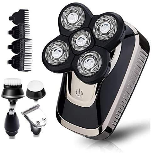 Rasierer Herren Elektrisch, Xchingwan 5 IN 1 Männer Glatze Rotationsrasierer, 4D Rasierapparat Elektrorasierer Bartschneider Nass &Trockenrasierer IPX7 Wasserdicht