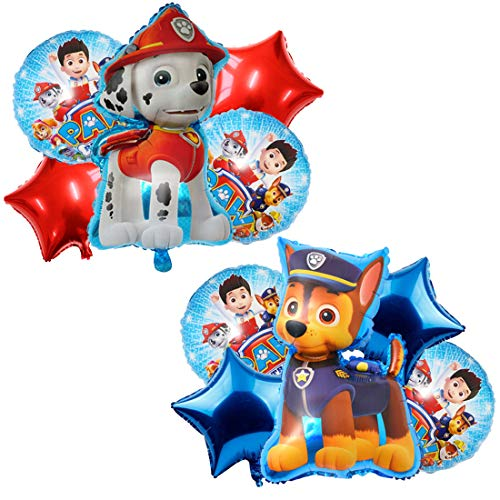 MiotlsyBallon XXL Folienballon Luftballon Paw Patrol Hund Kindergeburtstag Deko Paw Patrol Geburtstag Fellfreunde Luftballons Dekoration Set Happy Birthday Deko-Luftballon Balloons