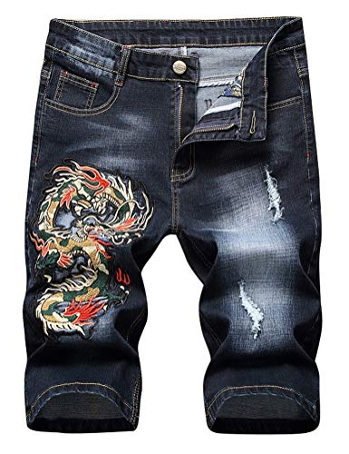 IDEALSANXUN Jean Shorts for Men Pattern Ripped Denim Shorts (32, Black Dragon)