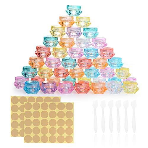 Herefun 64 Piezas Envase Cosmético Vacío, Contenedor de Cosmética de Plástico, Transparente Puede Pequeño Botes Cosméticos, Juego de Tarros de Viaje con Tapa + 6 Mini Raspadores