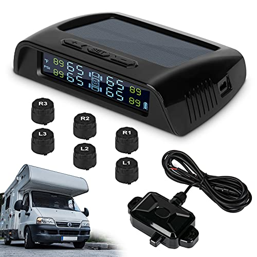 WELLUCK TPMS Tire Pressure Monitoring System for RV Trailer with 6 External TPMS Sensor and A...