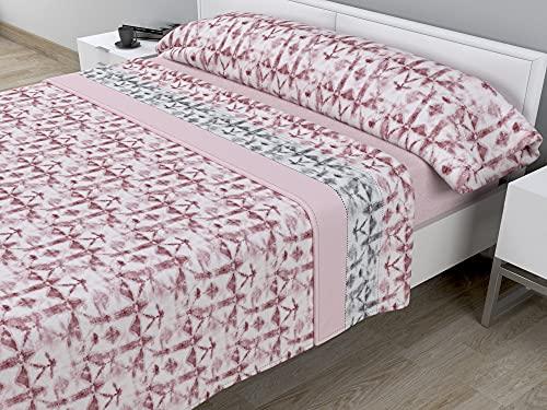 Juego de sábanas térmicas de Pirineo - 3 Piezas - 110 Gr/m2 - Mod. LICELIA (Rosa, Cama de 90 cm (90_x_190/200 cm))