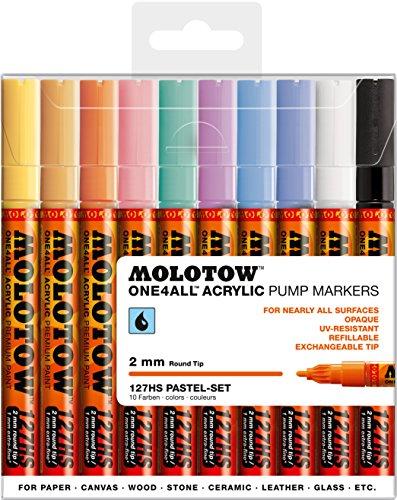 Molotow One4All 127HS Acryl Marker (Pastel-Set, 2 mm Spitze, hochdeckend und permanent, UV-beständig, für fast alle Untergründe) 10 Stück sortiert