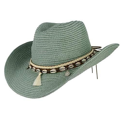 Cappelli Cappello da Sole Nappe A Conchiglia Cowgirl Cappello Estivo Cappello di Paglia per Donna Uomo Cappello da Cowboy Occidentale Lady Cappello da Sole Tessuto alla Moda Cappello da Spiaggia