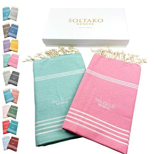 SOLTAKO 2 toallas de playa Fouta, tamaño XXL, toalla de sauna, toalla de baño, toalla de hamam, manta de yoga, pestemal, en rosa cerezo y colores menta, juego de regalo extra grande, 100 x 200 cm