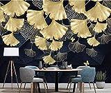 Wandbild Wandkunst 3D Wallpaper Gold Ginkgo Blätter Wandbild Wasserdichte Leinwand für Wohnzimmer Wohnkultur Luxus Fototapeten_460 cm (B) x280 cm (H)