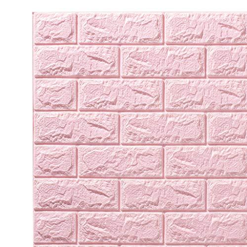 B Blesiya Papel Tapiz Autoadhesivo 3D Paneles de Pared con Efecto de Ladrillos para Paredes de TV/Fondo de sofá Dormitorio Cocina Sala de Estar Decoración de la Pared del hogar - Rosado
