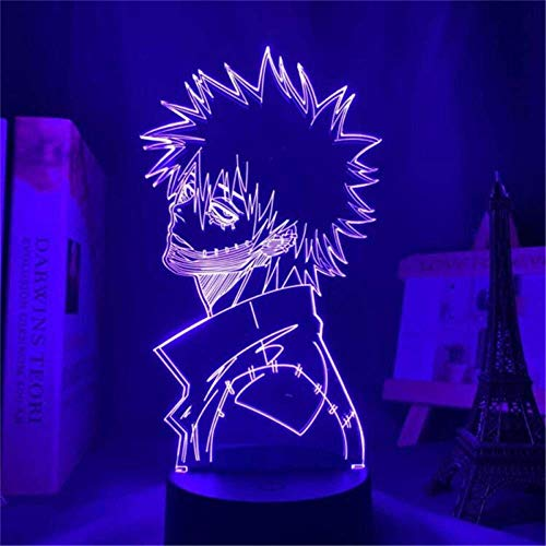 3D Night Light, Babies Illusion Lamp Kids Touch Table Desk LED Lamp 16 Color Changing with USB Cable, Christmas Gifts for Kids Boys ToysMein Held Academia DABI