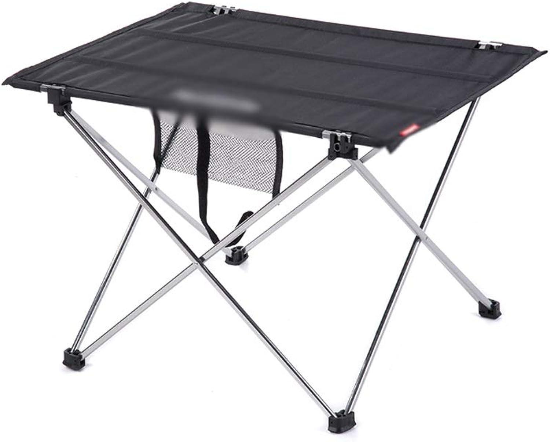 ZZHF zhuozi Folding Table Rectangular Oxford Cloth, Light Carrying Belt, Aluminum Alloy Bracket, Non-Slip, 20Kg Load Capacity, 2 colors (color   Black, Size   42×57×38cm)