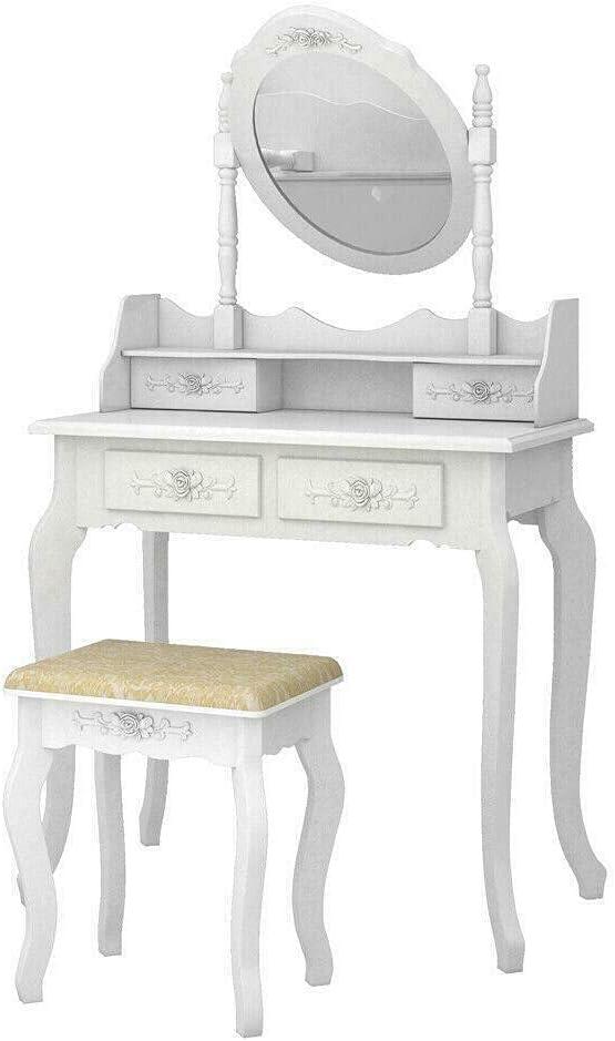 H White Vanity online shopping Makeup Dressing Table w 4 Sale Special Price DrawerMirro Set Stool