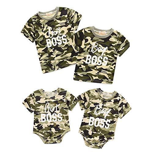 Conjunto a Juego de Gemelos, Conjunto de Hermano Mayor/Hermana/Hermanito, Regalo para Hermanos Bebés Niños Pequeños, Camuflaje Tops Mameluco Mono Camiseta