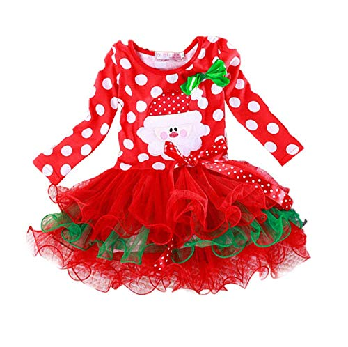 Toddler Kids Baby Girls Thanksgiving/Christmas Outfit Striped Dress Turkey/Santa Claus Print Tutu Skirts Set (Santa Claus Ttutu, 3-4 T)