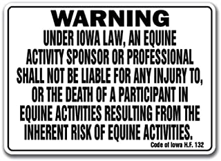 Iowa Equine Sign Activity Liability Warning Statute Horse Farm Barn Stable, 10