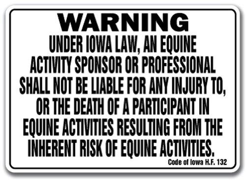 Iowa Equine Sign Activity Liability Warning Statute Horse Farm Barn Stable