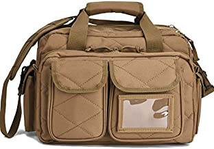 Tactical Gun Range Bag, Deluxe Pistol Shooting Range Duffle Bags Brown