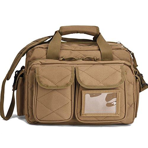 Tactical Gun Range Bag, Deluxe Pistol Shooting Range Duffle Bags Brown